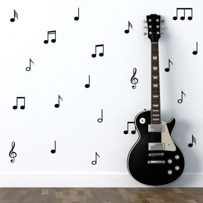 Music note wall stickers perfect for decorating your child's room with a contemporary music theme