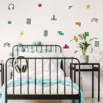 Gaming wall stickers perfect for decorating your child's bedroom with a retro gaming theme