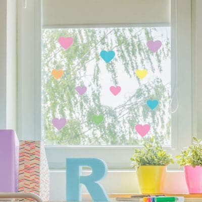 Rainbow heart window stickers quick and easy to apply to decorate your childs room.