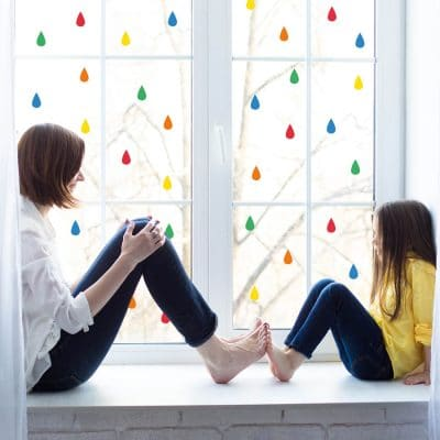 Colourful raindrop window stickers quick and easy to apply to decorate your childs room. (Option 4)