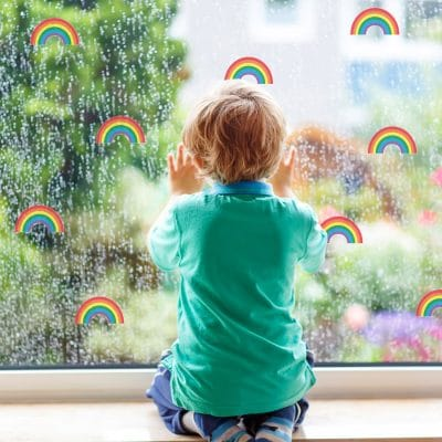 Rainbow stickaround window stickers quick and easy to apply to decorate your childs room. (Birght)