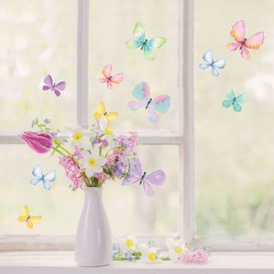 Watercolour butterfly window stickers quick and easy to apply to decorate your windows.