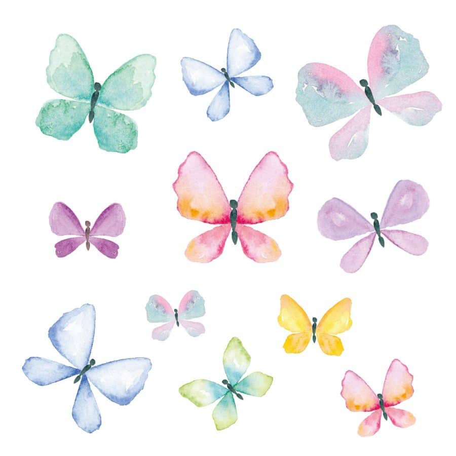 Watercolour butterfly window stickers on a white background