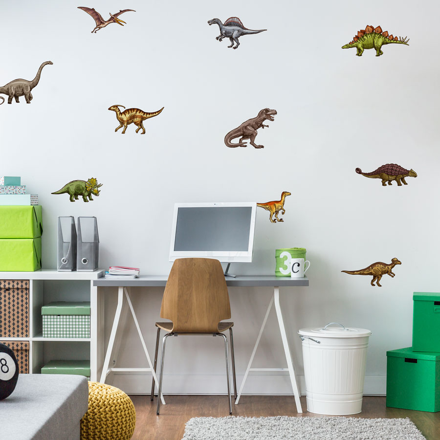 Dinosaur stickaround wall sticker pack (Multicolour) perfect for decorating a childs room with a dinosaur theme