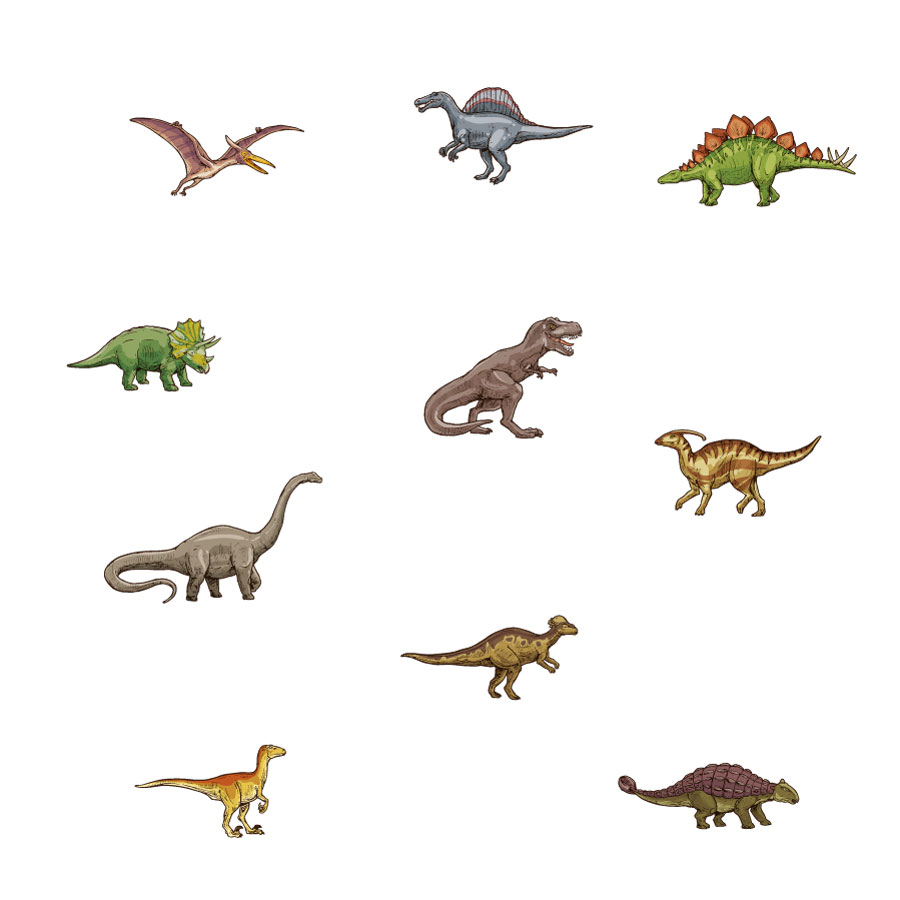 Dinosaur stickaround wall sticker pack (Multicolour) on a white background