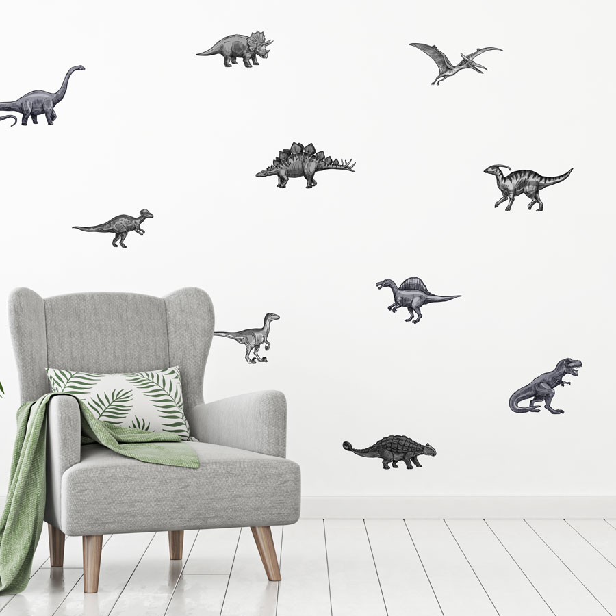 Dinosaur stickaround wall sticker pack (Greyscale) perfect for decorating a childs room with a dinosaur theme