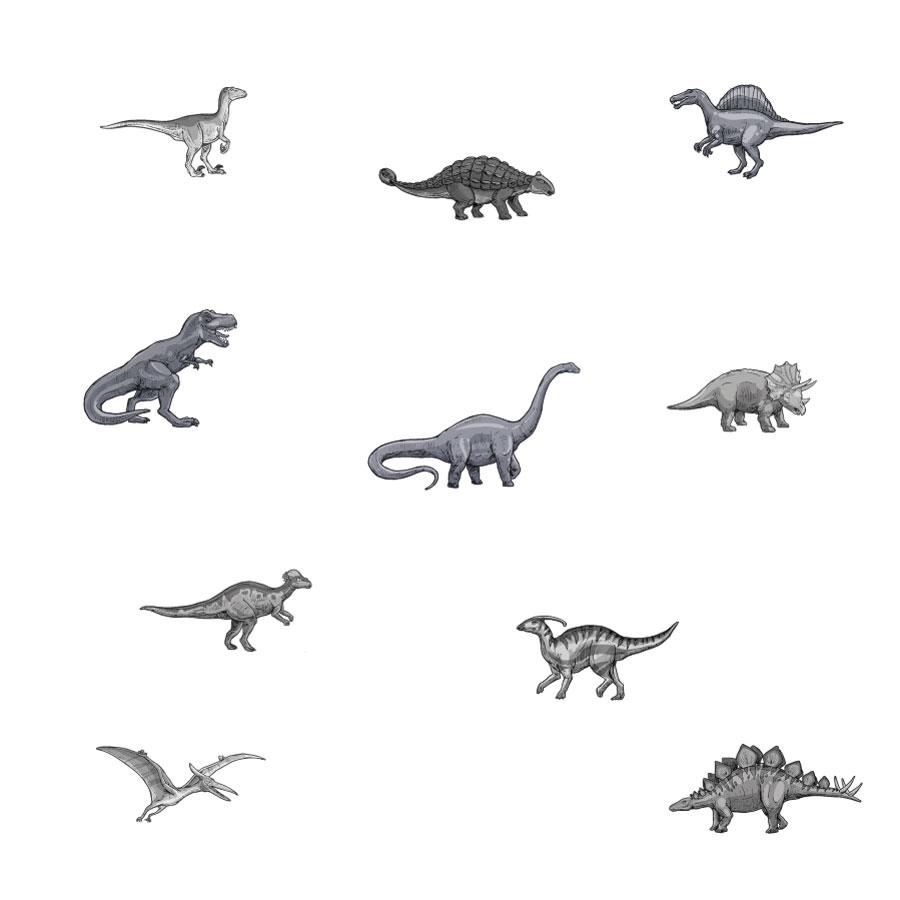 Dinosaur stickaround wall sticker pack (Greyscale) on a white background