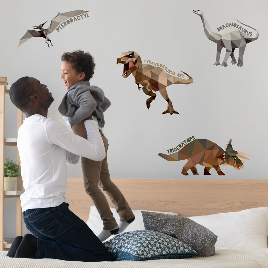 Geometric named dinosaur wall stickers (Regular size) perfect for creating a contemporary dinosaur theme in your childs bedroom