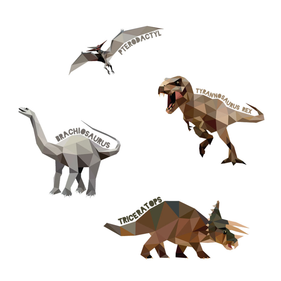 Geometric named dinosaur wall stickers on a white background