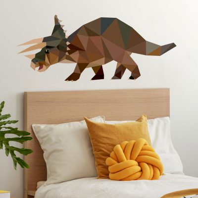 Geometric Triceratops wall sticker perfect for adding a contemporary dinosaur theme to your childs bedroom