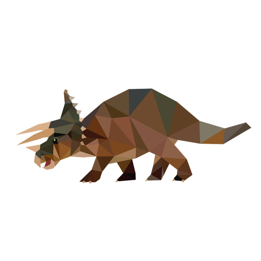 Geometric Triceratops wall sticker on a white background