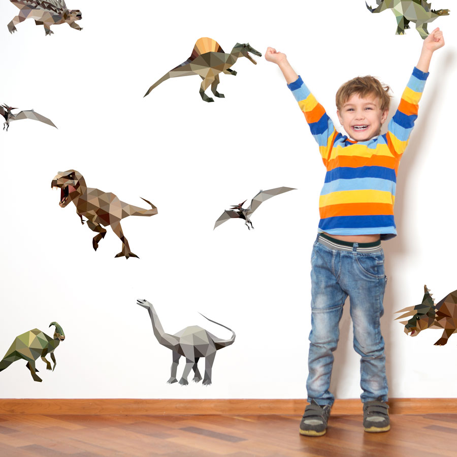 Geometric dinosaur wall sticker pack (Large size) perfect for adding a simple contemporary dinosaur theme to your child's room