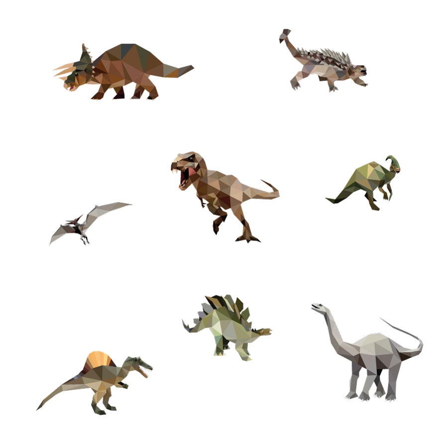 Geometric dinosaur wall sticker pack (Large size) on a white background