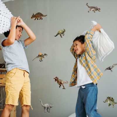 Geometric dinosaur wall sticker pack (Regular size) perfect for adding a simple contemporary dinosaur theme to your child's room