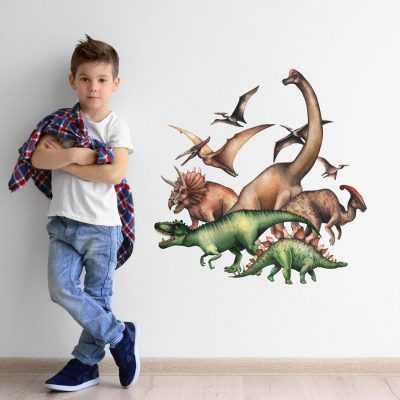 Jurassic dinosaur group wall sticker perfect for creating a focal point for a dinosaur themed bedroom