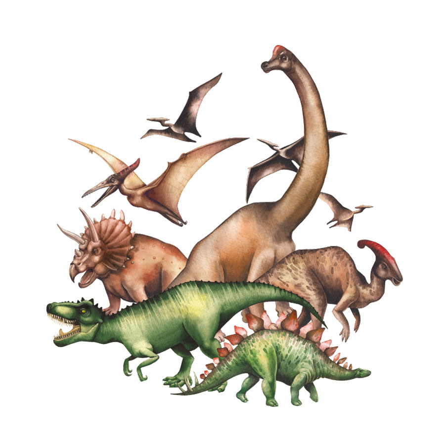 Jurassic dinosaur group wall sticker on a white background