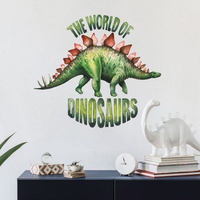 World of Dinosaurs - Stegosaurus wall sticker perfect for creating a dinosaur themed bedroom for children or teens