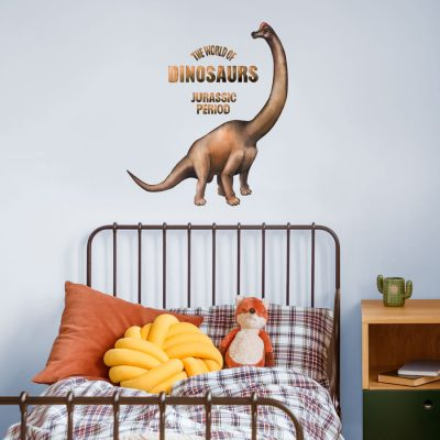 World of dinosaurs - Brontosaurus wall sticker perfect for creating a dinosaur themed bedroom for a child or teenager