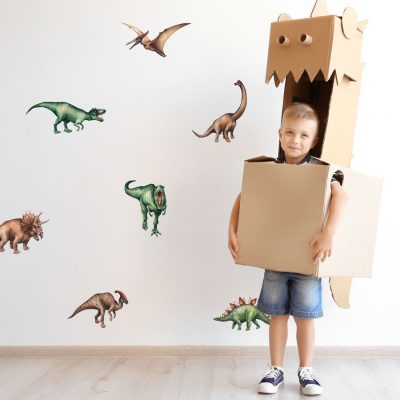 Jurassic dinosaur wall stickers perfect for creating a simple dinosaur themed room for your child