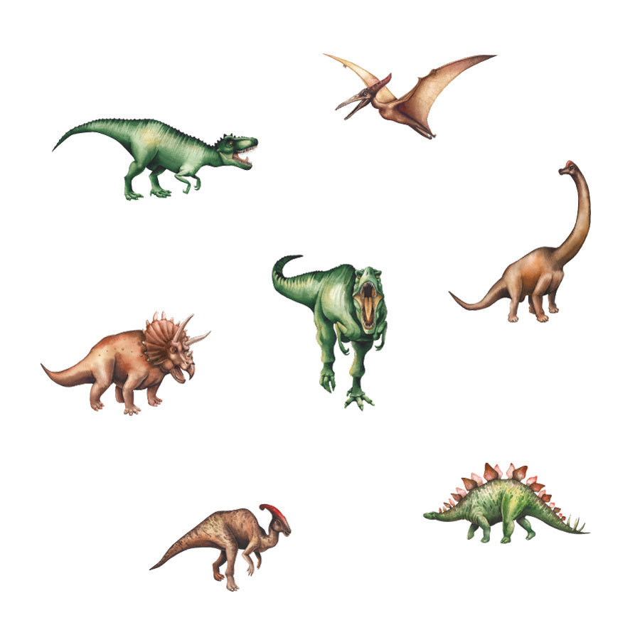 Jurassic dinosaur wall stickers on a white background