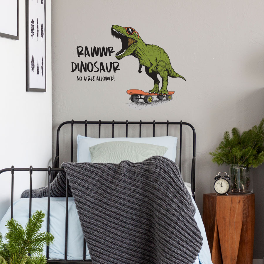 Rawwr dinosaur - no girls allowed wall sticker (Large size) perfect for creating a fun modern dinosaur theme for your child's bedroom or playroom