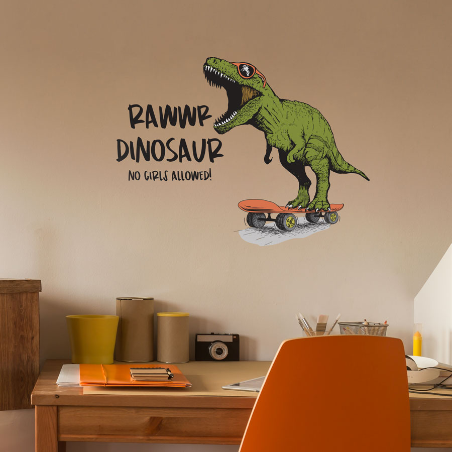 Rawwr dinosaur - no girls allowed wall sticker (Regular size) perfect for creating a fun modern dinosaur theme for your child's bedroom or playroom