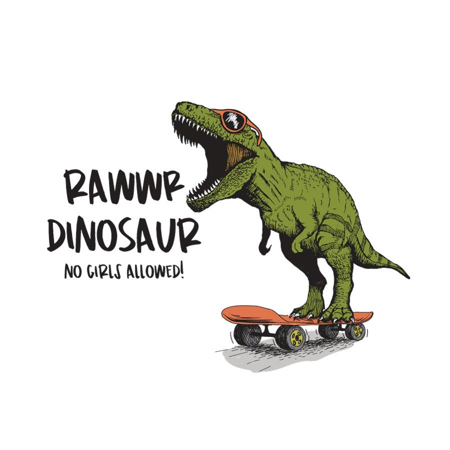 Rawwr dinosaur - no girls allowed wall sticker (Regular size) on a white background