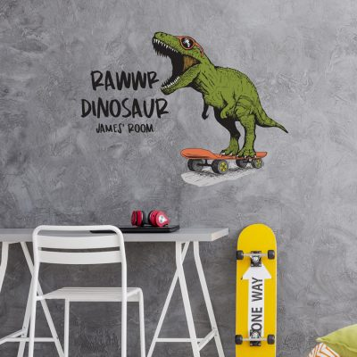 Rawwr dinosaur - personalised wall sticker (Large size) perfect for creating a unique, fun, dinosaur theme for your child's bedroom