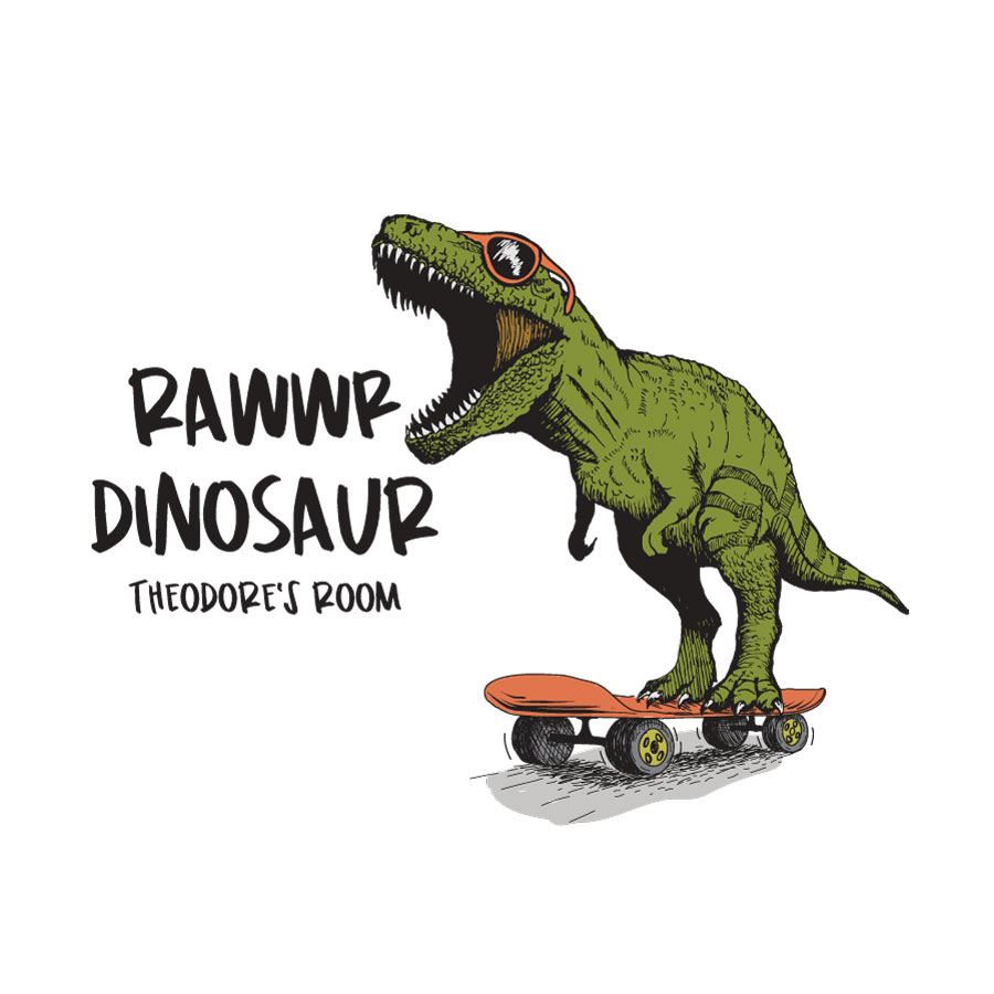 Rawwr dinosaur - personalised wall sticker (Large size) on a white background