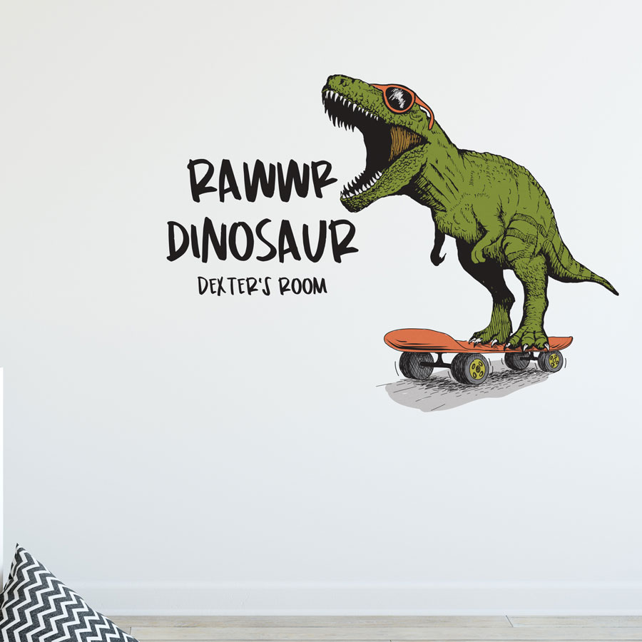 Rawwr dinosaur - personalised wall sticker (Regular size) perfect for creating a unique, fun, dinosaur theme for your child's bedroom