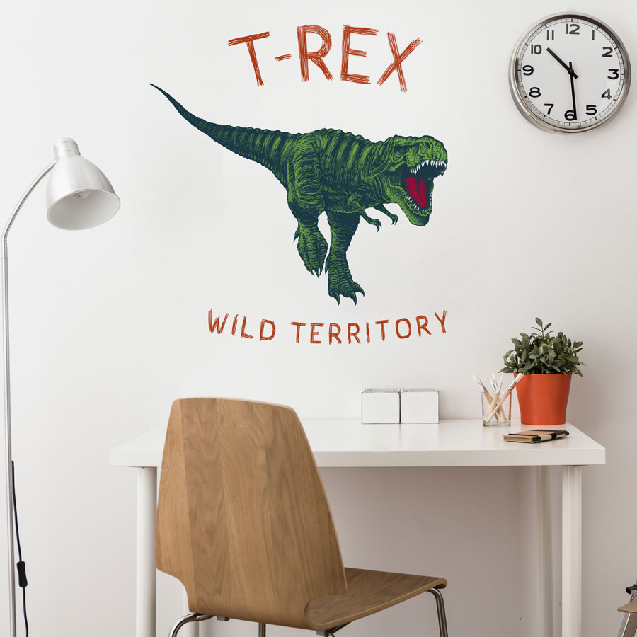 T-Rex wild territory wall sticker (Large size - multicolour) perfect for a creating a modern dinosaur themed bedroom