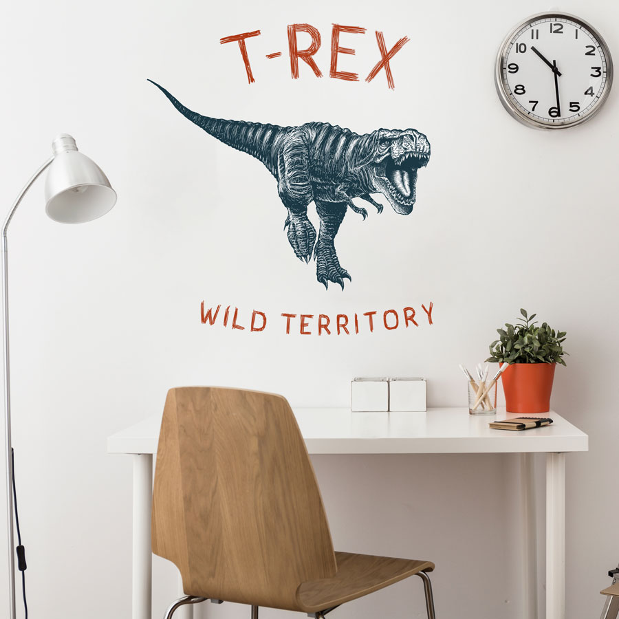 T-Rex wild territory wall sticker (Large size - monochrome) perfect for a creating a modern dinosaur themed bedroom