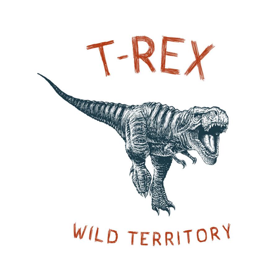 T-Rex wild territory wall sticker (Regular size- monochrome) on a white background)
