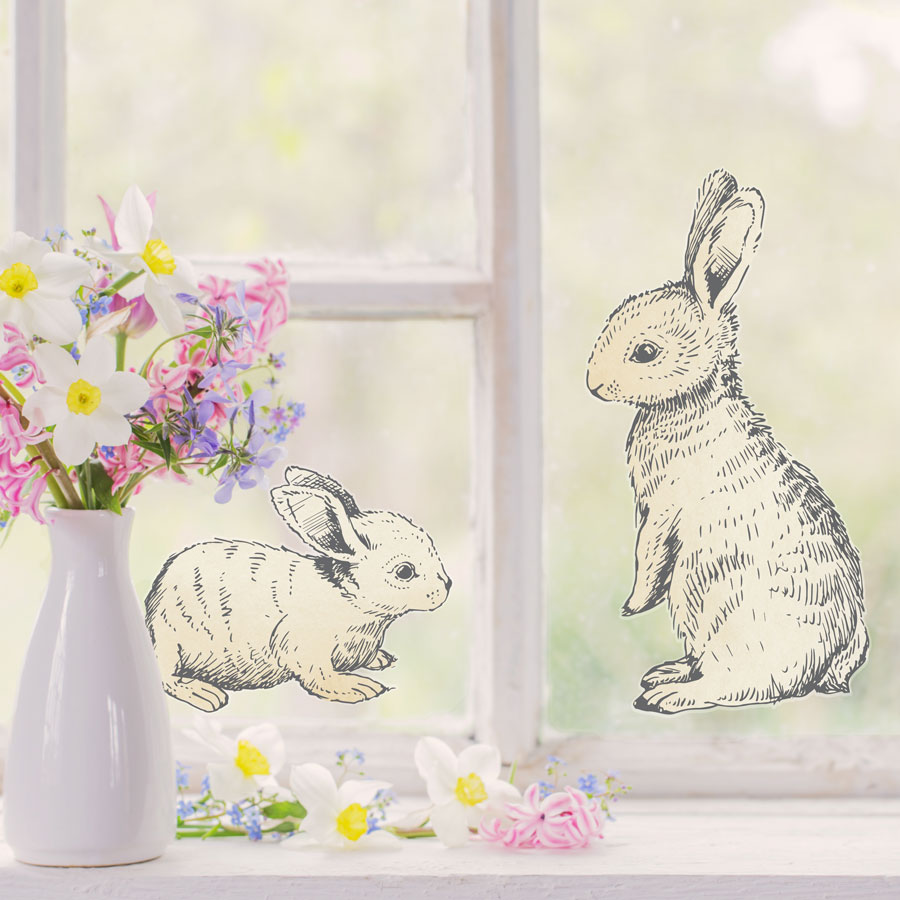 Sketched bunny window stickers perfect for decorating your windows this Easter
