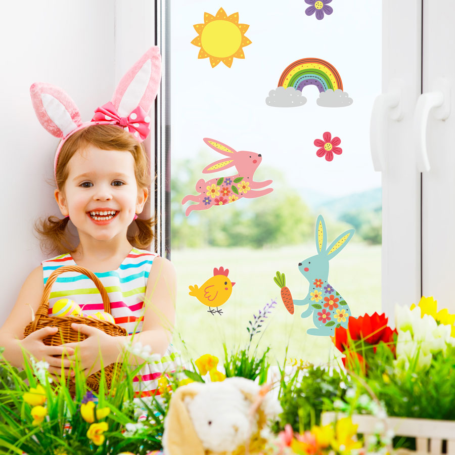 Bunnies and rainbow window stickers perfect for decorating your child's windows this Easter time