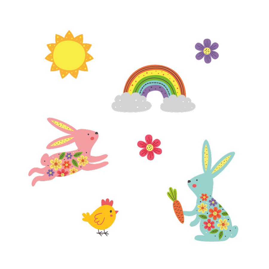 Bunnies and rainbow window stickers on a white background