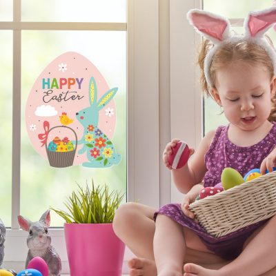 Happy Easter egg window sticker (Standard) is a great way to decorate your windows with an Easter theme this spring