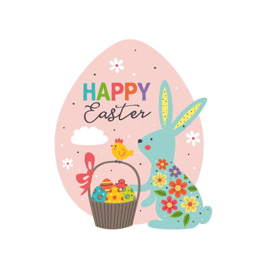 Happy Easter egg window sticker on a white background