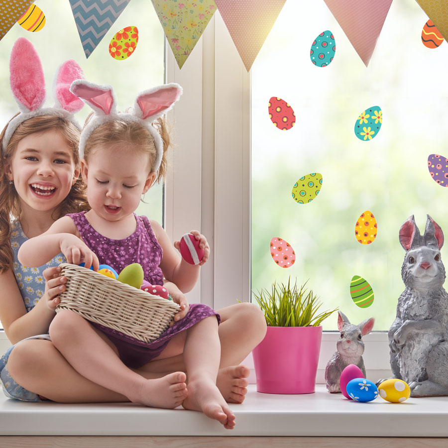 Colourful Easter eggs window stickers a great way to add a fun Easter theme decor to your windows this Easter