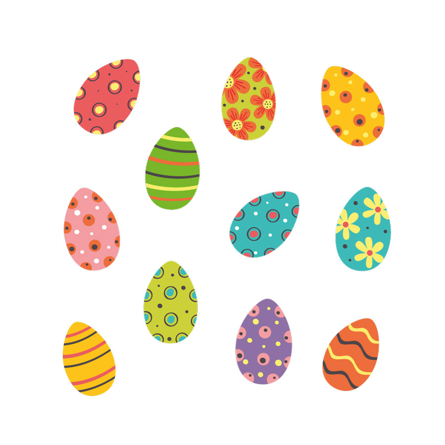 Colourful Easter eggs window stickers on a white background