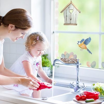 Birdhouse and eggs window stickers perfect for decorating your windows this springtime