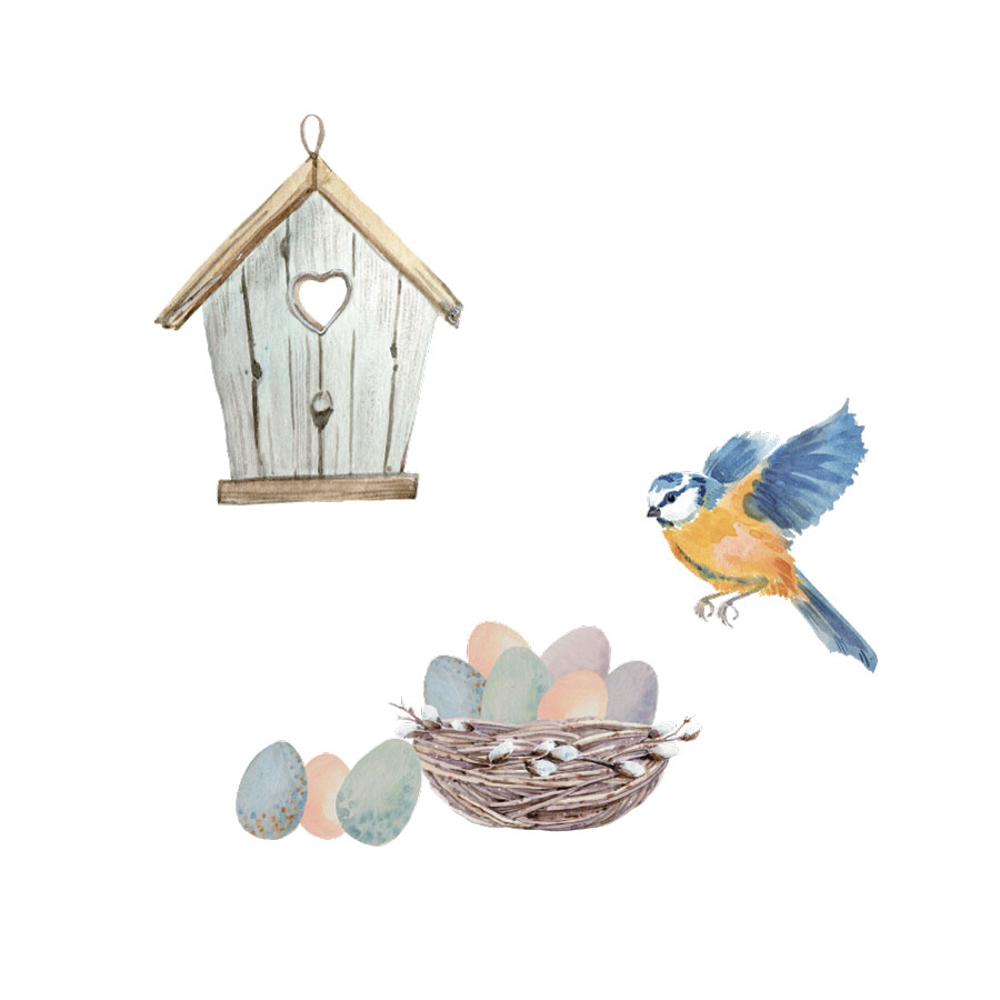 Birdhouse and eggs window stickers on a white background