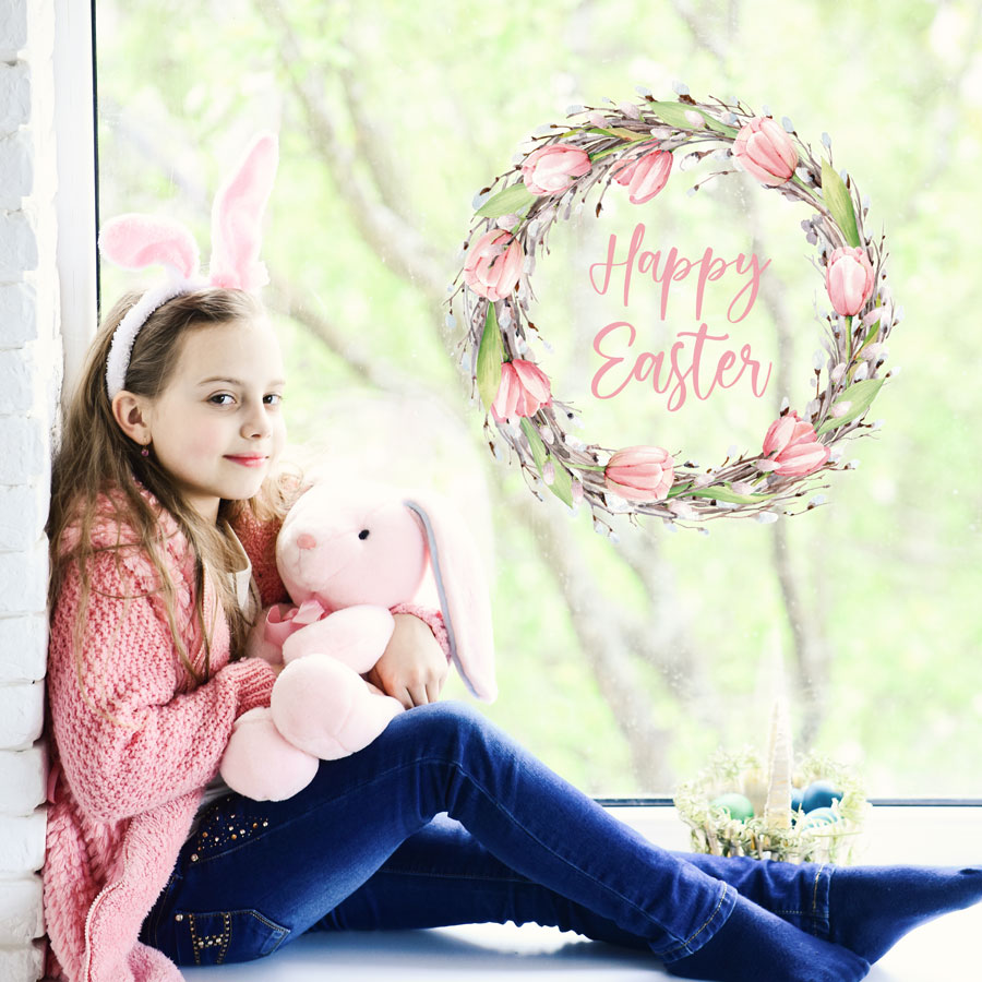 Happy Easter wreath window sticker (Option 1) perfect for decorating your windows this Easter