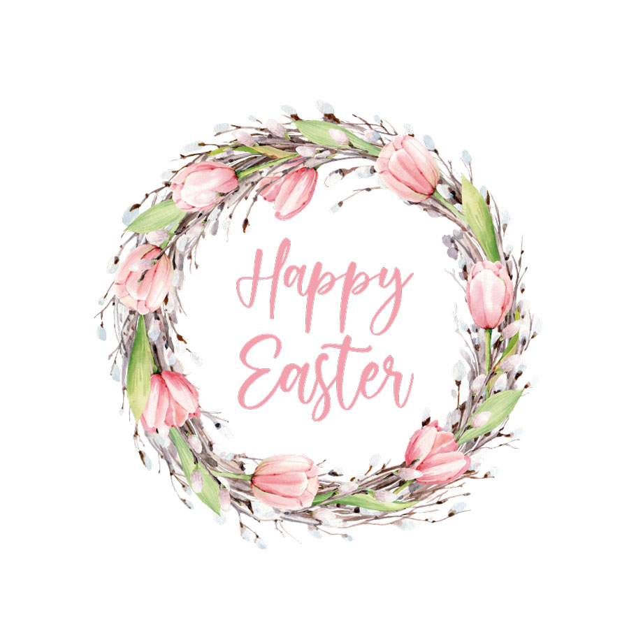 Happy Easter wreath window sticker (Option 1) on a white background