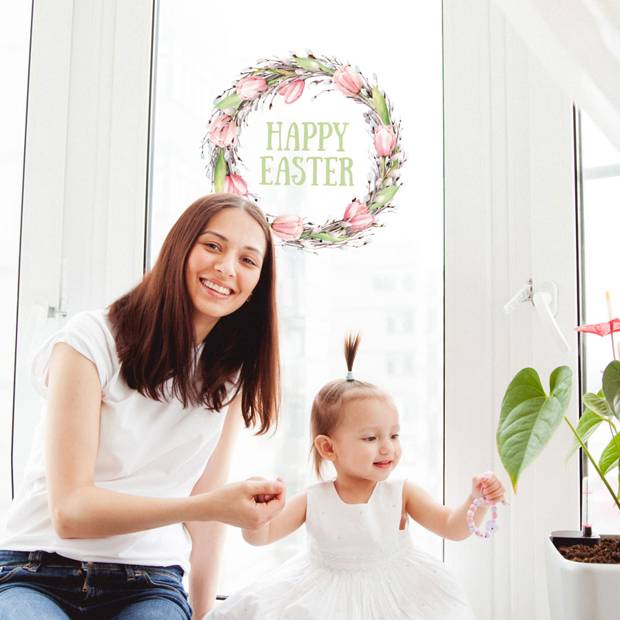 Happy Easter wreath window sticker (Option 2) perfect for decorating your windows this Easter