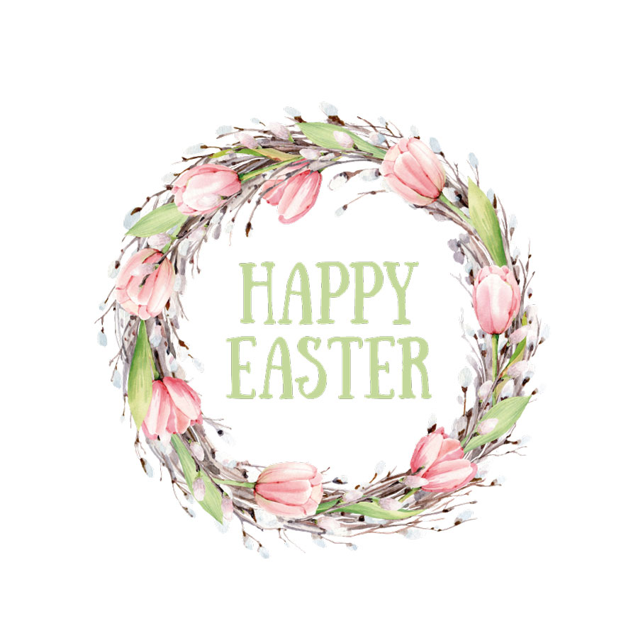 Happy Easter wreath window sticker (Option 2) on a white background