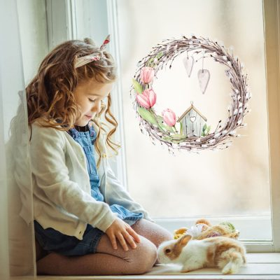 Spring wreath window sticker perfect for decorating your home and windows this Easter