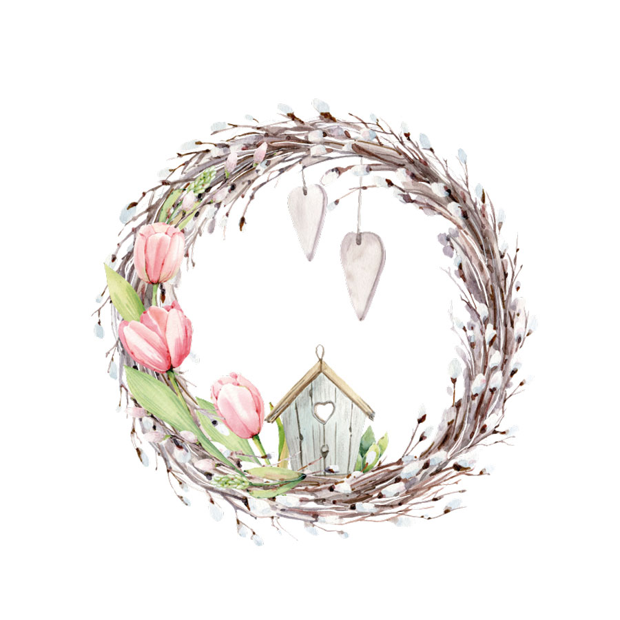 Spring wreath window sticker on a white background