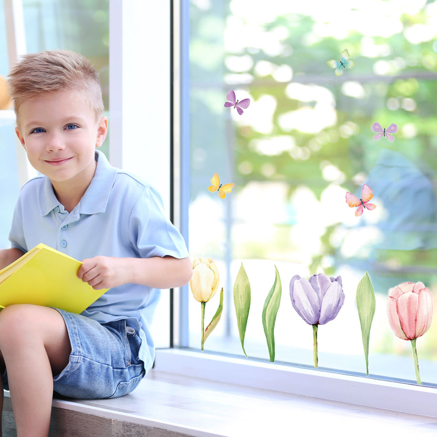 Tulip window stickers (Option 1) perfect for decorating your windows with during Spring