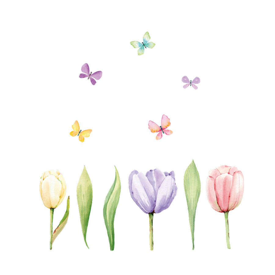 Tulip window stickers (Option 1) on a white background